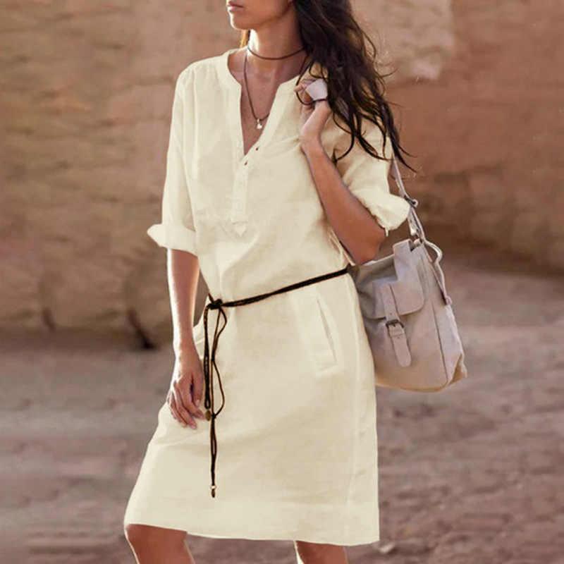 Повседневное женское платье с поясом, модная белая рубашка, платье миди, большие размеры, однотонное свободное платье с карманом и коротким рукавом, Осеннее женское платье, 5XL CDR610
