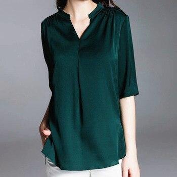 Blusa de gasa para mujer 2019 Camisa de media manga verano cuello pico blanco Vintage Tops blusa fina de talla grande Shein Office