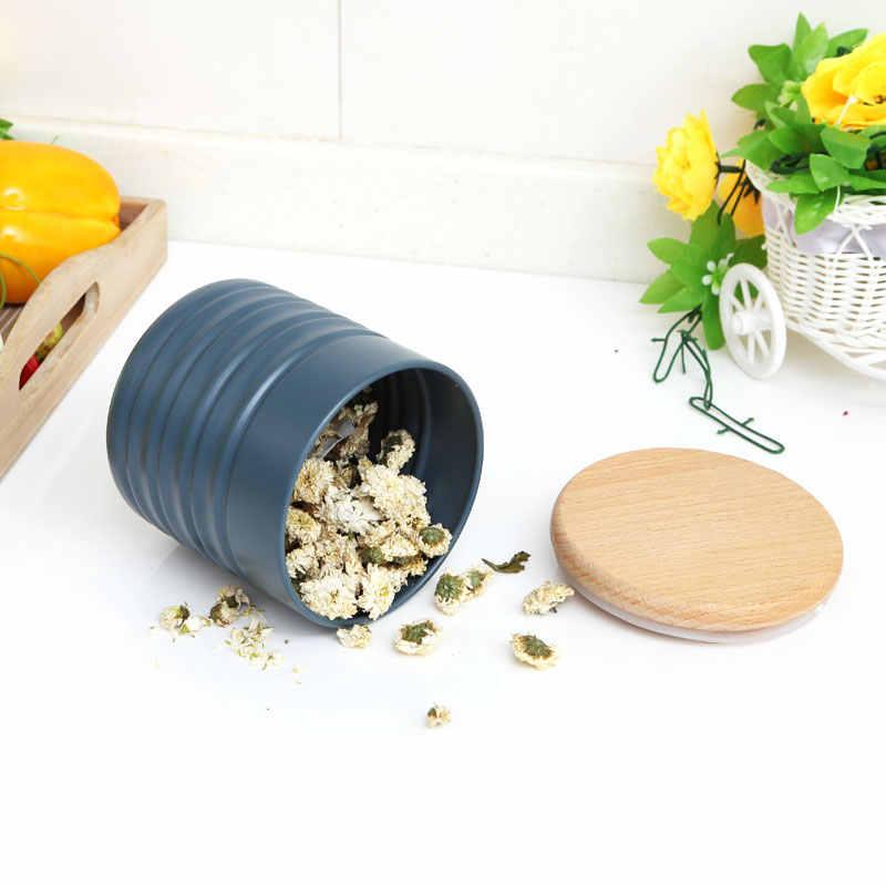 1 قطعة الصالحة للأكل الصف سيليكون الخشب مستودعات التخزين اسطوانة Boxs الشاي القهوة السكر غطاء أواني المطبخ المنزلية Supar-جودة