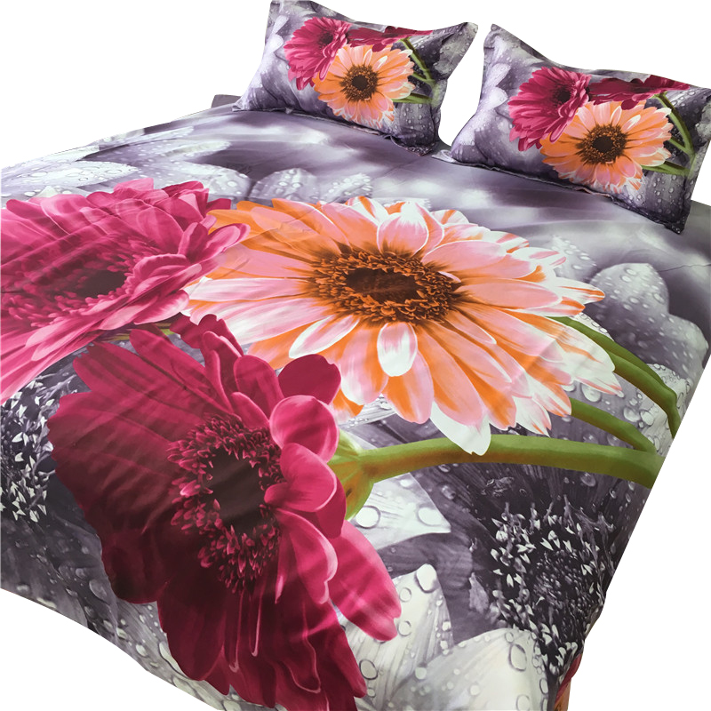 Svetanya 3D Bedclothes sunflower Printed 4pc Bedding Set Polyester Bed Linens Queen Full Europe Size