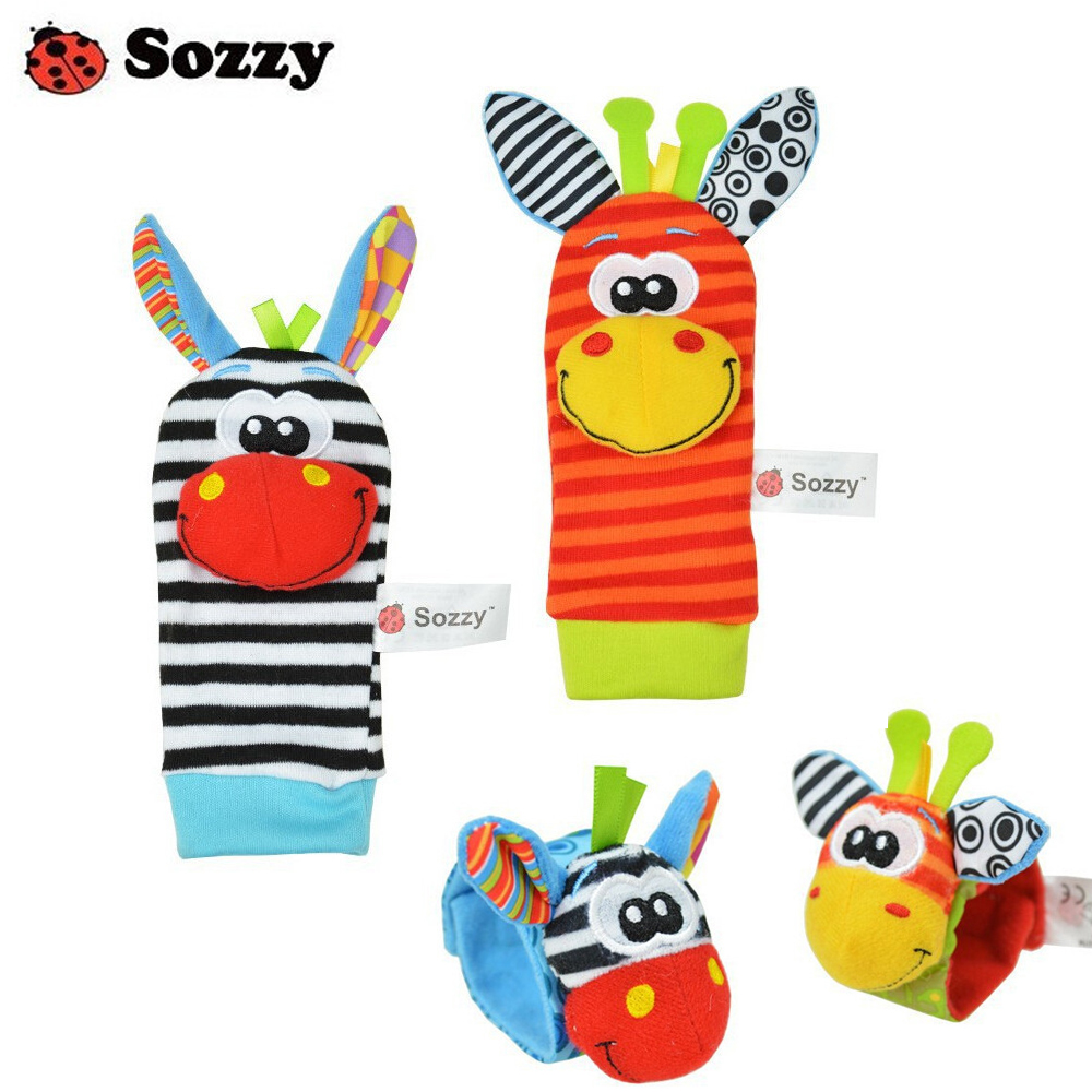 100pcs/lot Baby Rattle Toys Sozzy Garden Bug Wrist Rattle And Foot Socks 4 Style (2 Pcs Waist+2 Pcs Socks) (25 Sets)