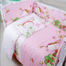 Lovely Style Baby Girls Bedding Set Soft Infant Crib Bedding Set Crib Bumper For Baby Bed Protector Cute Newborn Cot Set