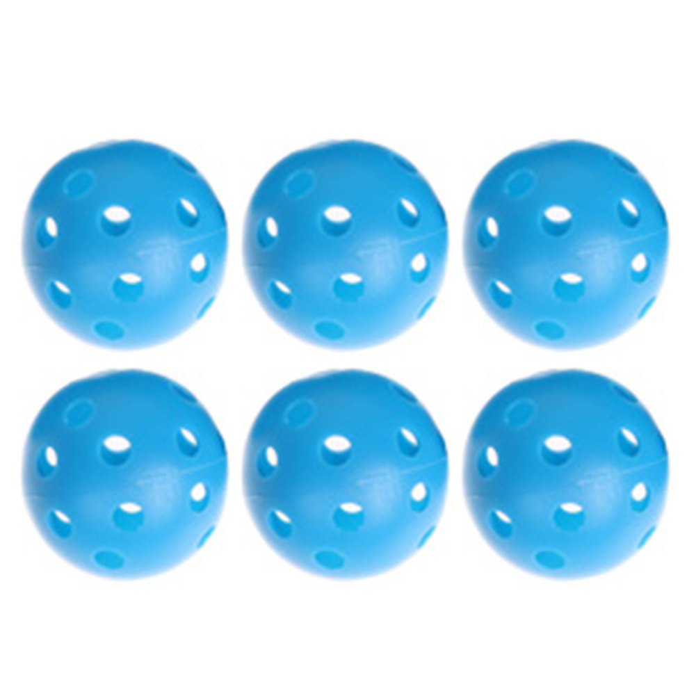 2017 New 6PCS Blue Plastic Round Training Golf Balls Whiffle Airflow Hollow Out Outdoor Sports Golf Game Practice Balls