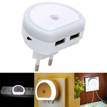 Light Sensor Control LED Night Light With Dual USB Port Charger Socket Wall Lamp For Babyroom Bedroom Lights Emergency Lighting