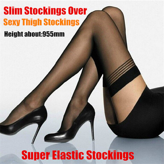 2pairs! Translucent Sexy Ultrathin Sexy Womens 73-95cm Super Elastic Sheer Thigh Silk Stockings Over,Top Silicone Band Stay Up