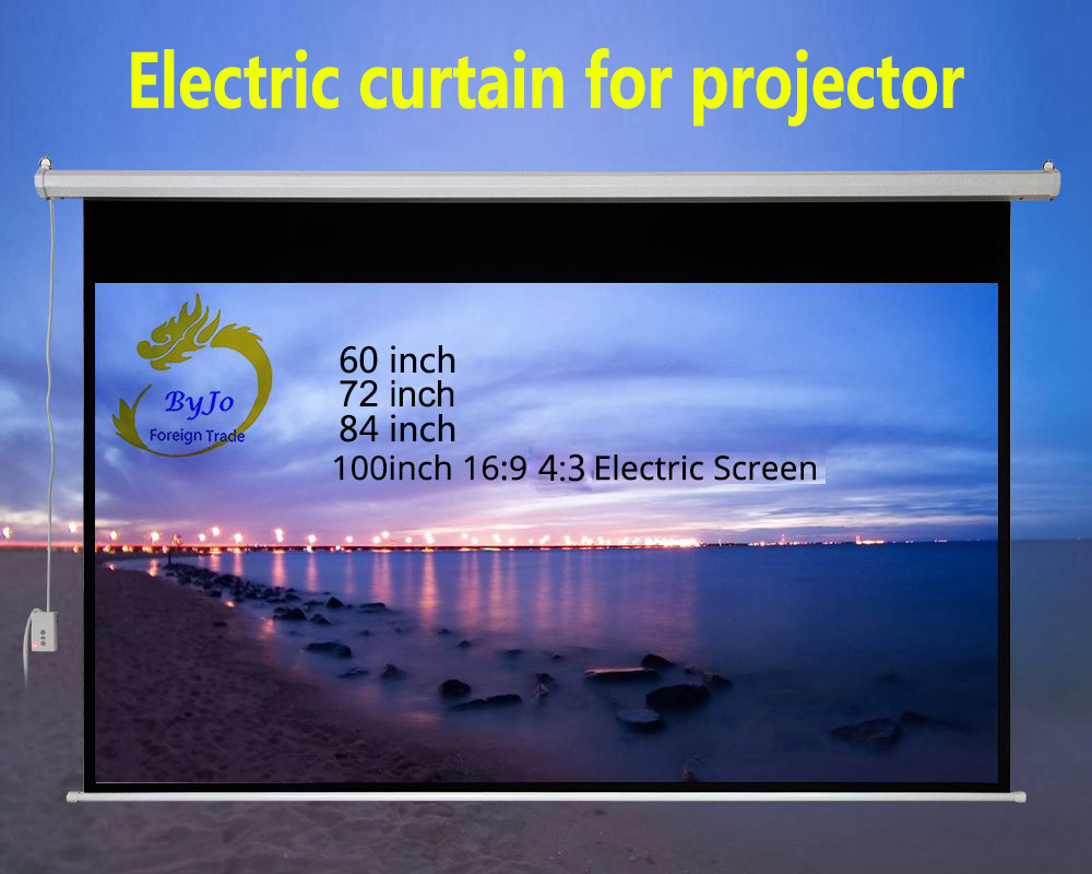 Frugal Electric Curtains 60 72 84 100 Inch 16:9 Or 4:3 Motorized Screen For All Led Lcd Dlp Laser Projector Electric Projector Screen