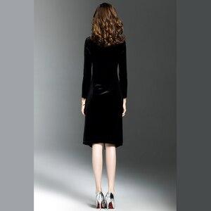 Image 5 - 여자 그린 벨벳 드레스 플러스 사이즈 우아한 가을 겨울 슬리밍 패션 캐주얼 드레스 파티 드레스 vestidos femininos
