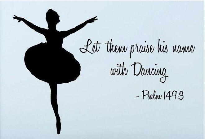 Muziek dans muurtattoo meisje danser quote psalm mural art