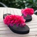 Espe design bonito olhar time de quatro cores cunhas mulheres chinelos de verão casual wear calçados femininos nova chegada venda quente
