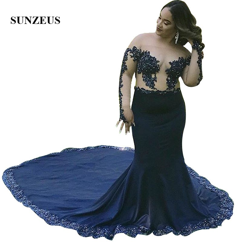 Off Shoulder Long Sleeves Prom Gowns Mermaid Navy Blue Long Train Party Dress Mermaid Appliques Bodice Women gala dress