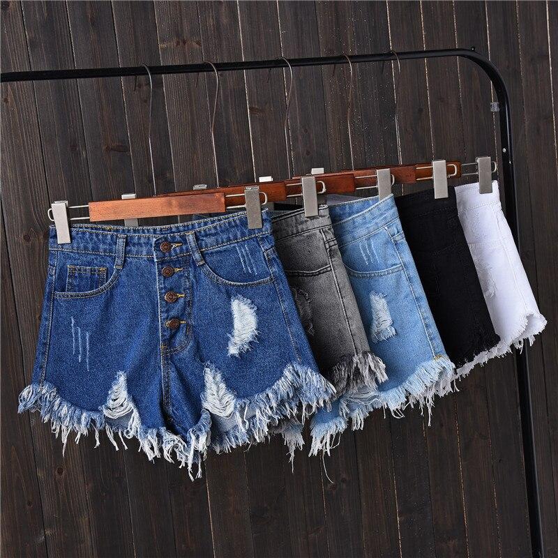 Jian Peng denim shorts womens tassel hole high waist summer short jeans four button shorts Women with S to 6XL plus size