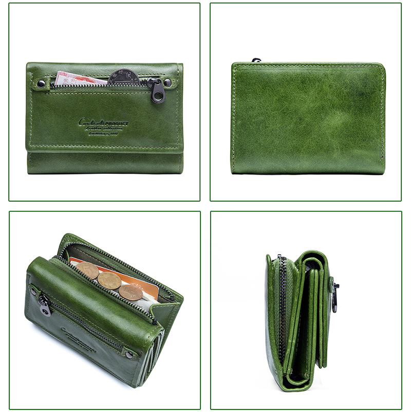 Contact 39 s Brand Female Wallet Women Genuine Leather Purse Bank Card Holder Small Carteira Feminina Coin Purse Money Bag Clutch in Wallets from Luggage amp Bags