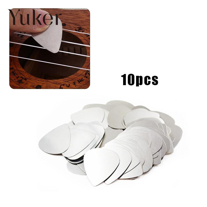 Yuker 10Pcs Stainless Steel Picks Plectrums for Electric Guitar Bass Supplies Silver