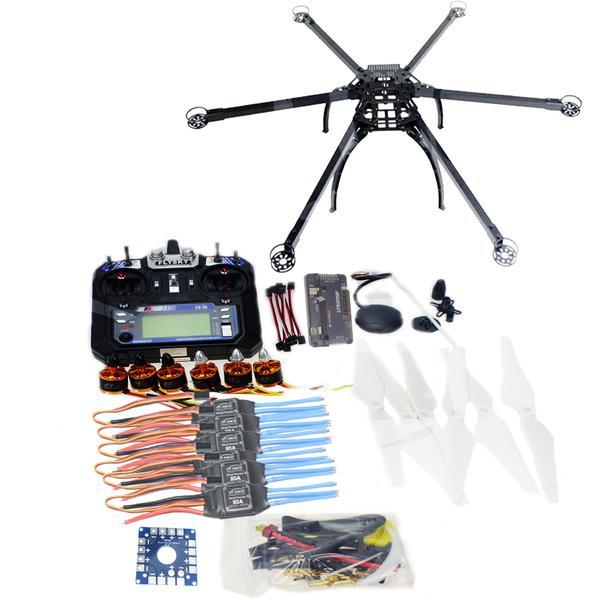 JMT Six-Axis Hexacopter Unassembled GPS Drone Kit with Flysky FS-i6 6CH 2.4G TX&RX APM 2.8 Multicopter Flight Controller jmt diy fpv multirotor drone full gps apm2 8 set alien across carbon fiber rc hexacopter flysky fs i6 6ch tx