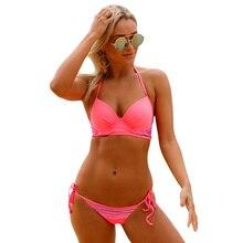 5b8eb0419e PLUSLAND D'été Sexy Femmes Rose Rayé Détail Brillant Coral Bikini Maillot  de Bain Taille Basse Cravate SideTwo-Pièces Sépare Mai.