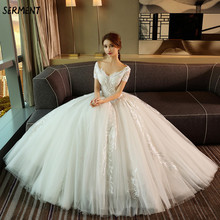 Wedding Lace Halter Princess Bride Word Shoulder Luxury Imported Trailing Dress 2019 New