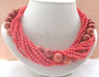 Beautiful 10row 18 4 5mm 14mm Round Red Coral Necklace Pearl Clasp