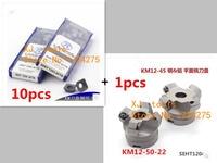 1 pcs KM12 50 22 4T Face Mill Head CNC Milling Cutter and 10pcs SEKT1204 AFTN LT30 carbide Insert ,milling cutter tools
