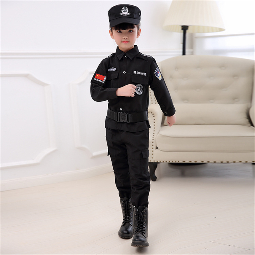 Children Military Uniform for Boys Girls Policemen Uniform Kids Army Special Police Costume Combat Tactics Clothing Set 3-14 Old