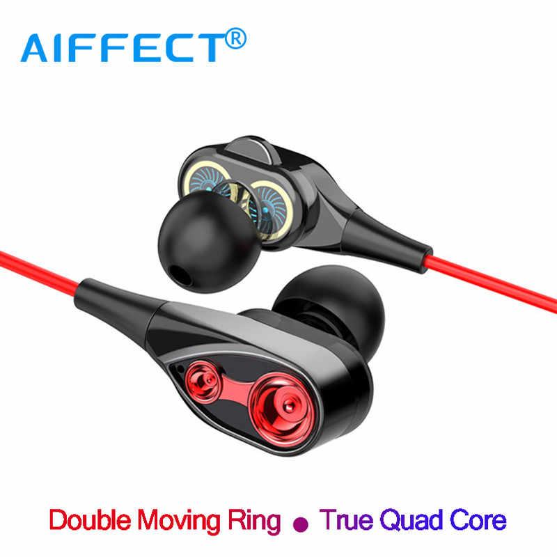 AIFFECT HIFI Ağır Bas Ses Kulaklık çift sürücü Spor Kulaklık 3.5mm Jack Kulaklık Hands Free Mic Müzik Kulaklık ile