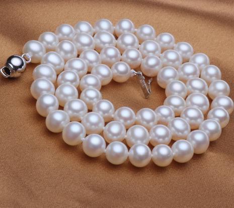 Magnifique collier de perles blanches naturelles 8-9mm mers du sud fermoir en argent de 18 pouces 925Magnifique collier de perles blanches naturelles 8-9mm mers du sud fermoir en argent de 18 pouces 925