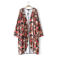 Jinggton Vrouwen Boho Print Bloemen Losse Sjaal Kimono Vest Top Cover up Blouse Plus Size XXL