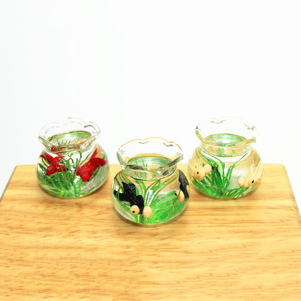 1/12 Dollhouse Miniature Accessories Mini Resin Fish Bowl  Simulation Goldfish Jar  Model Toys For Doll House Decoration