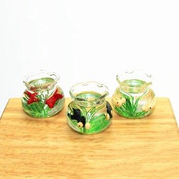 1/12 Dollhouse Miniature Accessories Mini Resin Fish Bowl  Simulation Goldfish Jar  Model Toys for Doll House Decoration mini bowl