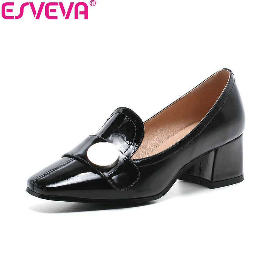 ESVEVA 2018 Women Pumps Sweet Style Patent Leather PU Square Heels Slip on Square Toe Ladies Med Heels Pumps Shoes Size 34-39 sweet women s pumps with two piece and patent leather design