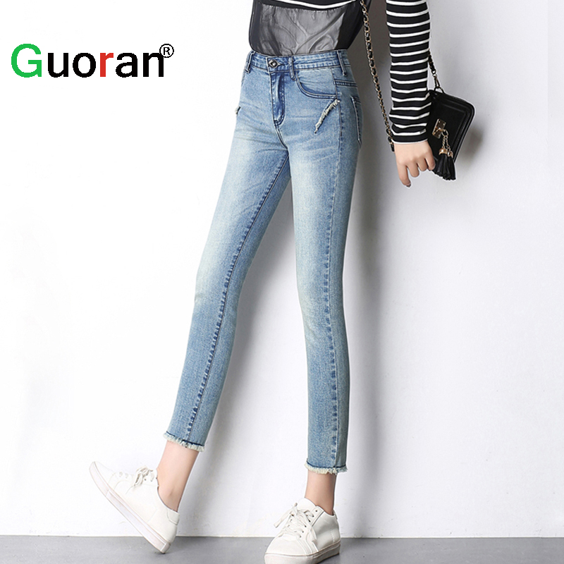 {Guoran} Elastic jeans pencil pants for women 2016 summer new plus size 26-33 with high waist femme pantalon stretch capris pant hodisytian new fashion women jeans high waist elastic denim capris pencil pants stretch trousers pantalon femme plus size 5xl