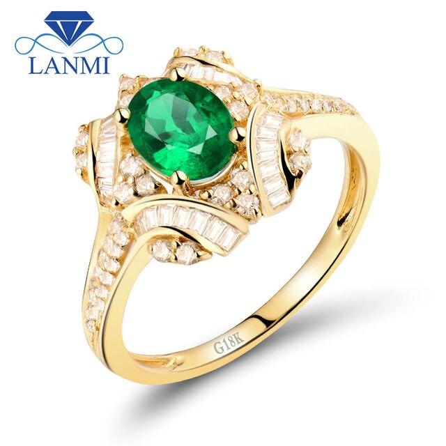 Vintage Diamond Baguette Engagement Emerald Rings 18K 750 Yellow