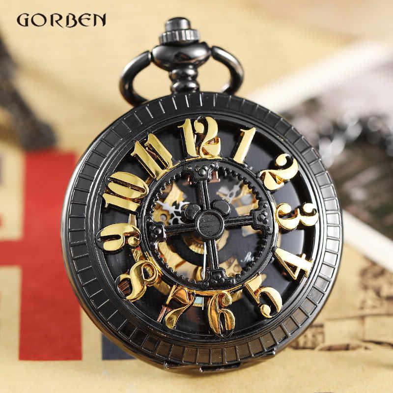 ייחודי גדול זהב מספר הולו עיצוב מכאני שעון כיס FOB שרשרת שחור פלדת שלד Steampunk כיס שעונים זכר שעון