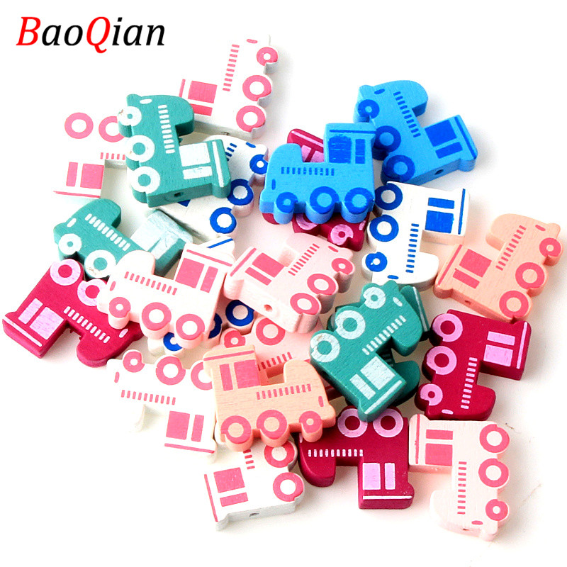 Jewelry & Accessories Beads 20x23mm Colorful Train Natural Wooden Beads For Jewelry Making Kids Toys Spacer Beads Baby Gift 30pcs Drip-Dry