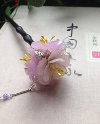 Purple Jade Flower Ball ZiYang Chinese Lover's Day National Trend Vintage Classica Hair Stick Hair Jewelry