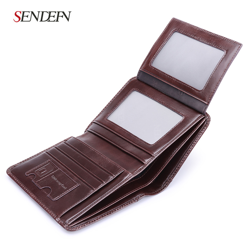 Vintage Mens Short Leather Business Wallet Simple Male Mini Card Holder Purse Black Coff ...