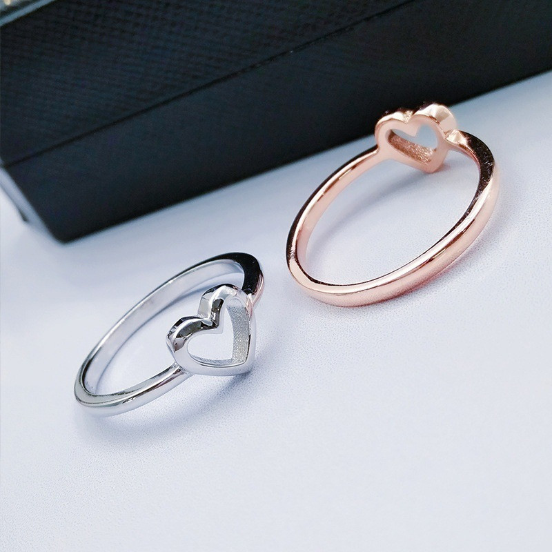 Simple Heart Rings New Fashion Rose Gold Color Heart Shaped Wedding Ring for Woman Dropshipping Fashion Jewelry Anel accessories