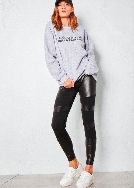 Gigi Attitude Bella Feeling Grey Cotton Sweatshirt Women Fashion