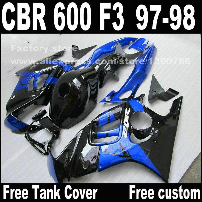 Motorcycle parts for HONDA CBR 600 F3 fairings 1997 1998 CBR600 F3 97 98 blue black fairing kit  T3