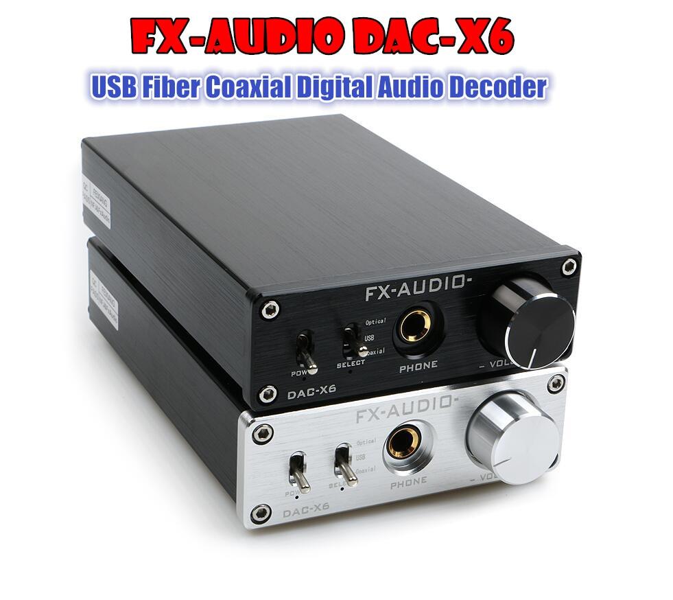 Фотография FX-AUDIO DAC-X6 HiFi  Amplifier USB Fiber Coaxial Digital Audio Decoder DAC 16BIT /192Khz  TPA6120