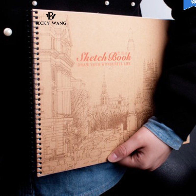 2018 New Sketchbook With Handle Creative Trend Coll Spiral Vintage Chinese Style Square Notebook Classical Book Sketchbook