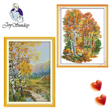 Joy Sunday,Birch forests,cross stitch embroidery set,printing cloth kit,needlework,Scenery pattern cross