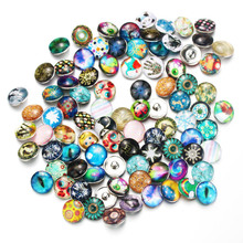 10pcs/lot Mixed Random Colors 18mm Glass Snap Button Jewelry Faceted Glass Snap Fit Snap Bracelet Boom Life Snaps jewelry 7857 10pcs lot mixed animal leather 18mm glass snap buttons jewelry glass cabochon fit 18mm snap bracelet bangles necklace 020916