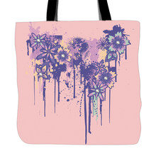 Flowers Pink Background Printed Tote Bag For Shopping Food Convenience Women Shoulder White Canvas Hand Bags Two Sided Printing(China)