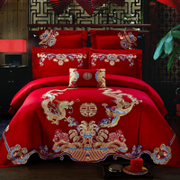 Luxury 100% Cotton Chinese celebration Wedding Bedding Set Embroidery Duvet Cover Bed Sheet Pillowcases Queen King Size 4/6/7pcs