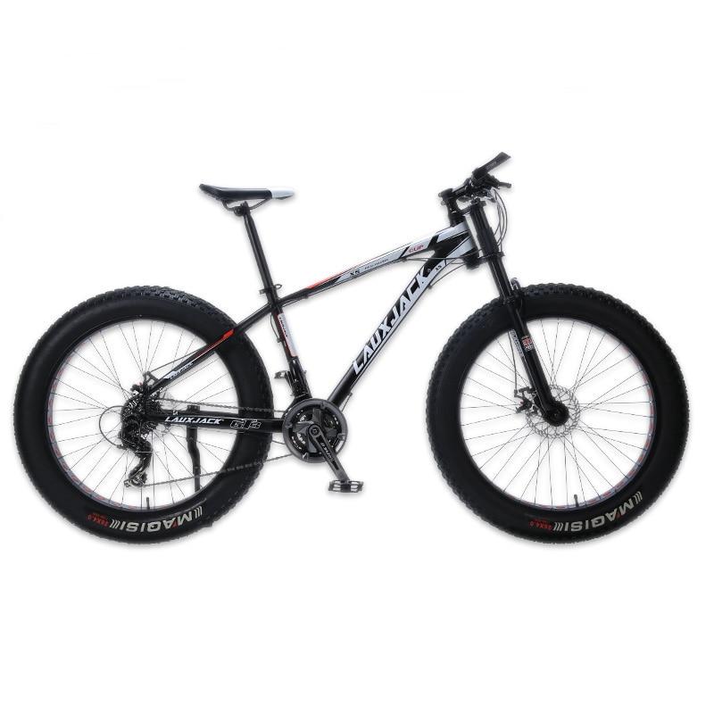 LAUXJACK VTT cadre aluminium 24 vitesses Shimano frein mécanique gros vélo 26 x4.0 roue longue fourche vélo FatBike