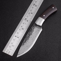 Outdoor Tactical Fixed Knives High Carbon Steel Damascus Pattern Knife Handmade Camping Hunting Knife EDC Tools