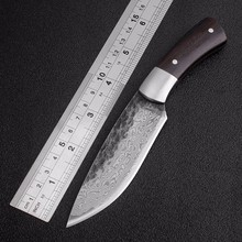Outdoor Tactical Fixed Knives High-carbon steel Damascus pattern Knife Handmade camping Hunting Knife EDC tools Free shipping