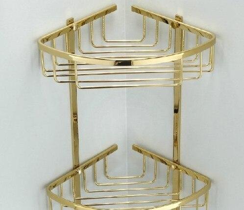 Dual Tier Corner Bracket Golden Brass Bathroom Shelf Shower Caddy ...