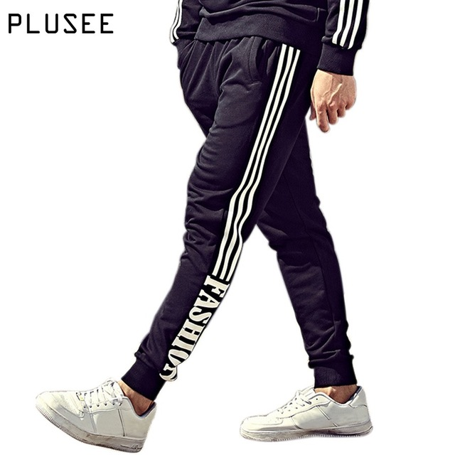 Plusee бегунов мужчины штаны плюс размер спортивной мужчин брюки 2017 весна письмо печати случайные черные бегуны мужчины штаны XL-6XL