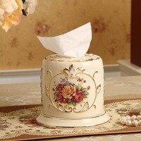 Аутентичная Роскошная C высококлассная позолоченная керамическая креативная домашняя тканевая коробка насосный лоток украшения ретро укр